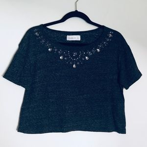 Abercrombie & Fitch | Beaded Heather Gray Crop Top